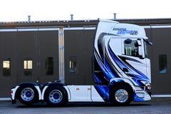 Progettazione del gessato sul camion di Scania S500 della prossima generazione Fotografia Stock