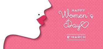 Progettazione del giorno delle donne con il fronte della ragazza e l'etichetta del testo Immagine Stock