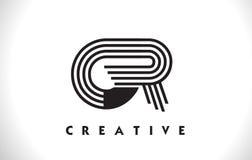 Progettazione del GR Logo Letter With Black Lines Linea vettore Illus della lettera Immagini Stock