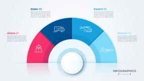 Progettazione del grafico del cerchio di vettore, modello moderno per creare infographics, presentazioni, rapporti, visualizzazio illustrazione di stock