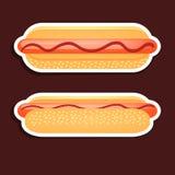 Progettazione del hot dog sopra fondo grigio Fotografie Stock Libere da Diritti