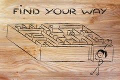 Progettazione del labirinto della metafora: trovi il vostro modo Fotografia Stock Libera da Diritti