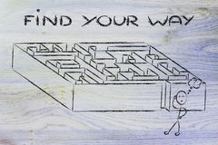 Progettazione del labirinto della metafora: trovi il vostro modo Immagini Stock Libere da Diritti