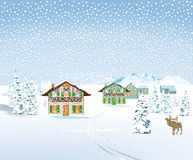 Progettazione del landcape della tempesta della neve di inverno Fotografia Stock