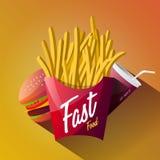 Progettazione del manifesto degli alimenti a rapida preparazione isolata Fotografia Stock