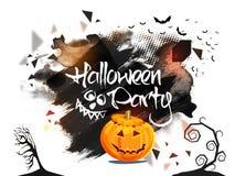 Progettazione del manifesto, dell'insegna o dell'aletta di filatoio del partito di Halloween Immagini Stock