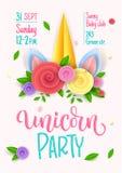 Progettazione del manifesto dell'invito di tema di rosa del partito dell'unicorno Corno di carta dell'unicorno dei fiori recisi,  illustrazione di stock