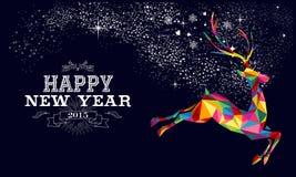 Progettazione 2015 del manifesto della renna del nuovo anno Fotografia Stock