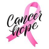 Progettazione del manifesto di calligrafia di consapevolezza del cancro al seno di vettore Nastro rosa del colpo Ottobre è mese d Fotografia Stock