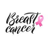 Progettazione del manifesto di calligrafia di consapevolezza del cancro al seno di vettore Nastro rosa del colpo Ottobre è mese d Immagini Stock Libere da Diritti