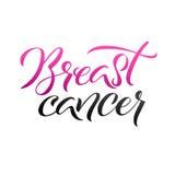 Progettazione del manifesto di calligrafia di consapevolezza del cancro al seno di vettore Nastro rosa del colpo Ottobre è mese d Fotografia Stock Libera da Diritti