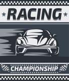 Progettazione del manifesto di campionato di corsa illustrazione di stock