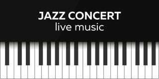 Progettazione del manifesto di concerto di jazz Concerto di musica in diretta Tasti del piano Illustrazione di vettore Immagine Stock Libera da Diritti