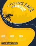 Progettazione del manifesto di evento della corsa di bicicletta di vettore Fotografie Stock