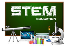 Progettazione del manifesto di istruzione del gambo con le attrezzature di scienza illustrazione di stock