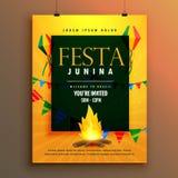 Progettazione del manifesto di junina di Festa per la festa brasiliana illustrazione di stock