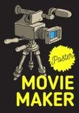 Progettazione del manifesto di Movie Maker con la videocamera isolata su una linea imprecisa disegnata a mano Art Style del fumet Fotografia Stock