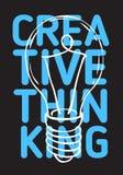 Progettazione del manifesto di pensiero creativo con la linea imprecisa disegnata a mano Art Style Lightbulb Drawing Illustration royalty illustrazione gratis