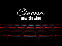 Progettazione del manifesto di prima del cinema di film con i sedili rossi Fondo di vettore Fotografia Stock