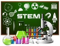 Progettazione del manifesto per istruzione del gambo con gli strumenti di scienza illustrazione di stock