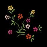 progettazione del materiale illustrativo del ricamo del fiore per abbigliamento, floreale isolato Fotografia Stock