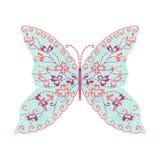 Progettazione del materiale illustrativo del ricamo della farfalla per abbigliamento, insetto Fotografia Stock