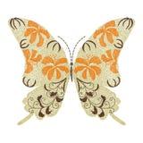 Progettazione del materiale illustrativo del ricamo della farfalla per abbigliamento, isolata Immagini Stock