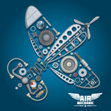 Progettazione del meccanico aeronautico con l'aeroplano dell'elica Fotografie Stock Libere da Diritti