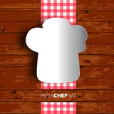 Progettazione del menu, cappello del cuoco unico di Papercut su fondo di legno. Vettore eps1 Immagini Stock