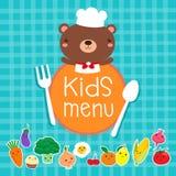 Progettazione del menu dei bambini con il cuoco unico sveglio dell'orso Immagine Stock Libera da Diritti