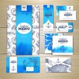 Progettazione del menu dei frutti di mare dell'acquerello Template corporativo per le illustrazioni di affari Fotografie Stock