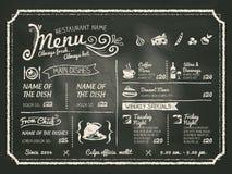 Progettazione del menu dell'alimento del ristorante con il fondo della lavagna Fotografia Stock