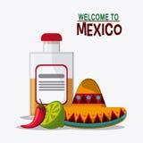 Progettazione del Messico Icona della cultura Illustrazione di Colorfull, grap Immagine Stock Libera da Diritti