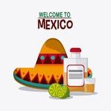 Progettazione del Messico Icona della cultura Illustrazione di Colorfull, grap Fotografia Stock