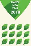 Progettazione del modello del calendario del nuovo anno 2018 illustrazione vettoriale