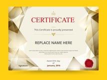 Progettazione del modello del certificato del diploma della geometria con l'internazionale illustrazione di stock