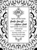 Progettazione del modello del damasco per l'invito di nozze in bianco e nero Struttura reale del broccato e monogramma squisito illustrazione vettoriale