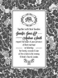 Progettazione del modello del damasco per l'invito di nozze in bianco e nero Struttura reale del broccato e monogramma squisito illustrazione di stock