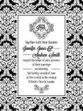 Progettazione del modello del damasco per l'invito di nozze in bianco e nero Struttura reale del broccato e monogramma squisito royalty illustrazione gratis