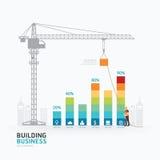 Progettazione del modello del grafico commerciale di Infographic costruzione al successo c Fotografia Stock Libera da Diritti