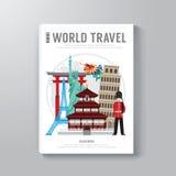 Progettazione del modello del libro di affari di viaggio intorno al mondo Fotografie Stock Libere da Diritti