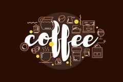 Progettazione del modello dell'insegna del caffè con iscrizione per la caffetteria Fotografia Stock Libera da Diritti