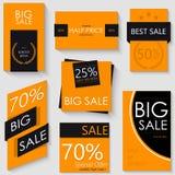 Progettazione del modello dell'insegna di vendita Un insieme di sette manifesti arancio Fotografia Stock Libera da Diritti