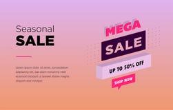Progettazione del modello dell'insegna di vendita Insegna di web con luce al neon e infographic isometrico moderno 3d per il vost illustrazione di stock