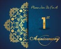 progettazione del modello di celebrazione di anniversario di 1 anno, primo anniversario illustrazione di stock