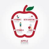 Progettazione del modello di concetto di salute della mela di Infographic Immagini Stock Libere da Diritti