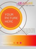 Progettazione del modello di copertura della rivista nel tema arancio Fotografia Stock Libera da Diritti