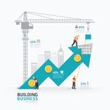 Progettazione del modello di forma della freccia di affari di Infographic Costruzione Fotografia Stock