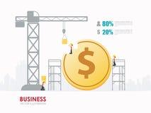 Progettazione del modello di forma della moneta del dollaro di affari di Infographic Fotografia Stock Libera da Diritti
