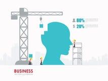 Progettazione del modello di forma della testa di affari di Infographic costruzione all'illustrazione di vettore di concetto di s Fotografia Stock Libera da Diritti